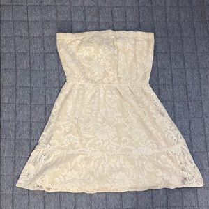 Angie Strapless Off White Lace Cutout Dress Used M